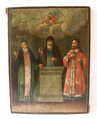 Rare! Antique 19th C Russian Hand Painted Icon of Pereslavl Miracle-Workers