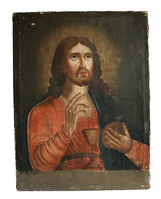 Antique 19th C Russian Oil Painting on Canvas Icon of Christ with Bread and Wine