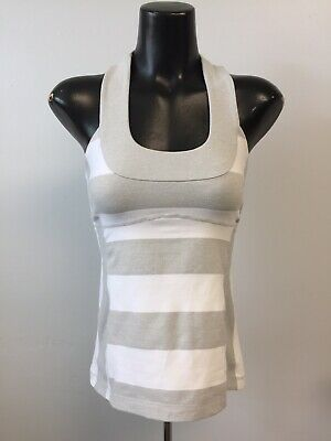 9ebf691bed54fe Lululemon Athletic Woman Size 6 Tank Top Sleeveless Built In Bra Gray White