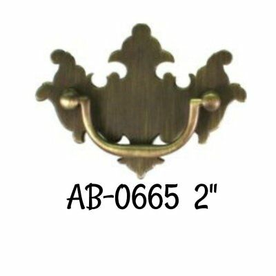 """2"""" Antique Brass Bail Bat Wing Chippendale Style Drawer Pull Vintage Style Old"""