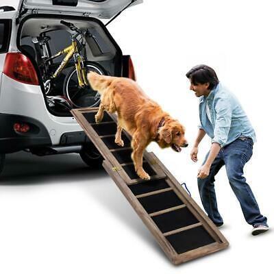 NEW Large Extendable Foldable Wooden Pet Dog Car Travel Ramp Ladder Climbing Aid