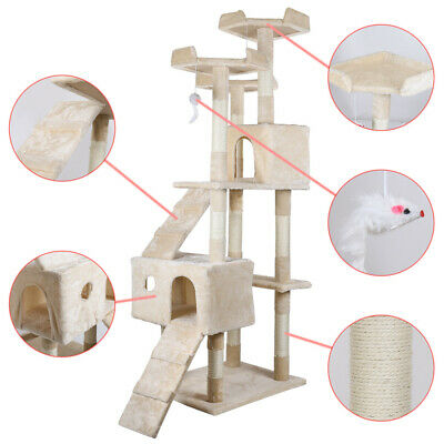 """68"""" Cat Tree Bed Furniture Scratching Tower Post Condo Kitten Pet House Beige"""