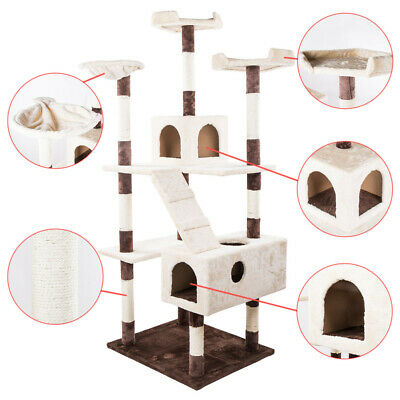 "52"" Deluxe Cat Tree Condo Play Toy Furniture Kitten Pet House Scratching Post"