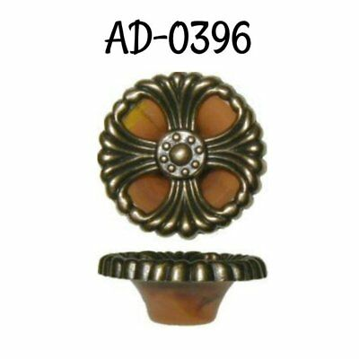 Round Waterfall style Brass knob tortoise shell backing Antique Vintage Old