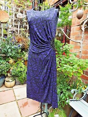 CC COUNTRY CASUALS Quality Occasions Dress Draped Front Purple & Black Sz S 10