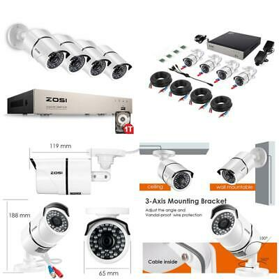 Zosi 1080P Video Surveillance System 4Ch Cctv Security Kit With 4X 2.0Mp Hd Outd
