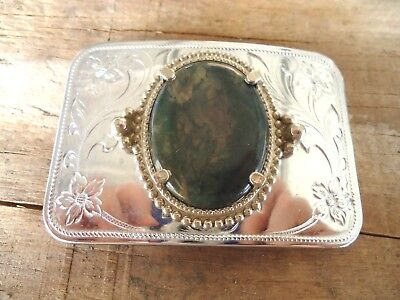 Belt Buckle Polished Stone Dress Unisex Dancing Western approx. 3.25 x 2.25 (1A)