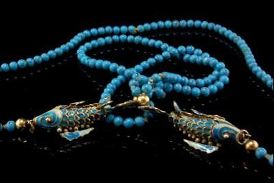Vintage Chinese Turquoise Cloissone Blue Enamel Articulated Koi Fish Necklace