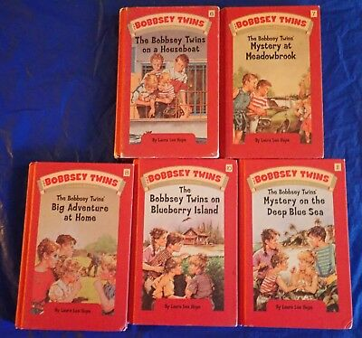 Lot of 5 Bobbsey Twins Books by Laura Lee Hope On A Houseboat, Blueberry Island