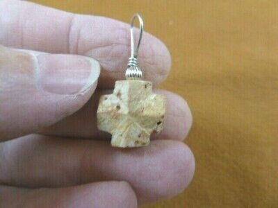 "CR505-147) 5/8"" Fairy Stone Pendant CHRISTIAN religious CROSS Staurolite Crystal"