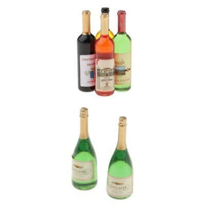 6 Pieces Wine Drink Bottles for 1:12 Dollhouse Kitchen Dining Room Accessory