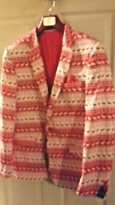 Suslo Couture Holiday Reindeer Stripe Blazer Sport Coat Ugly Sweater XXL46 XL44