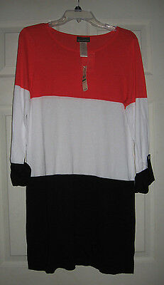 0404eaba3e Tommy Bahama Beach Sweater Color Block w/ Roll Up Sleeve Cover-up Tunic L