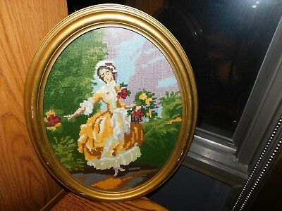 Victorian Lady Needlepoint Panel Picture Vintage Oval Frame COMPLETED Handmade
