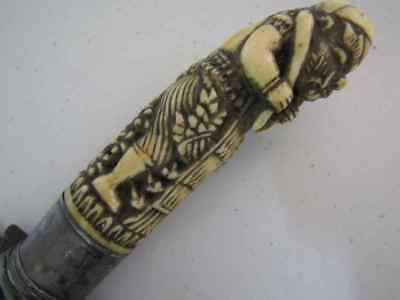 Antique Indonesian Carved handled Kris dagger with Damascus blade