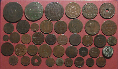 Lot Of (42) World Copper Coins! Many Countries, States And Colonies! Please View