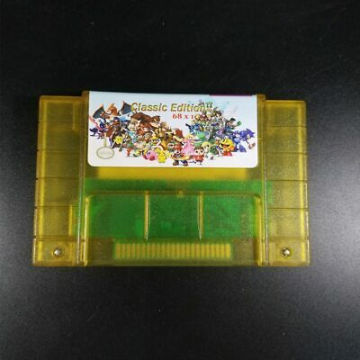 Nintendo SNES NTSC Super Games 68 in 1 Cartridge Multicart Battery Save US