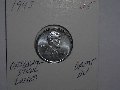 wheat penny 1943 GREAT BU 1943-P UNC LOT #5 ORIGINAL WARTIME STEEL LINCOLN CENT