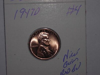 wheat penny 1947D NICE GEM RED BU 1947-D LINCOLN CENT LOT #4 UNC RED LUSTER