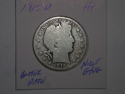 1915D 50C Barber Silver Half Dollar 1915-D SHARP VG DETAILS LOT #1