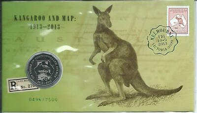 2013 50 cent 'Melb Stamp Expo Kangaroo & Map' Overprinted PNC Day 1