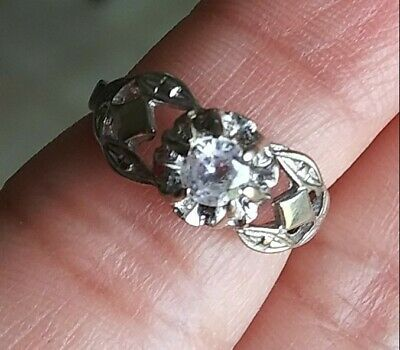 Antique sterling silver ring size 6 with zircon 45 years old