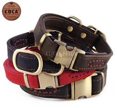 Designer Dog Collar By Coca-100% Genuine Leather Strong Soft Suede Blue Red Pink