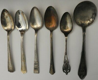 Lot of 6 MISC VINTAGE ANTIQUE SILVERPLATE SPOONS ( Silver Plate, Plated ) for