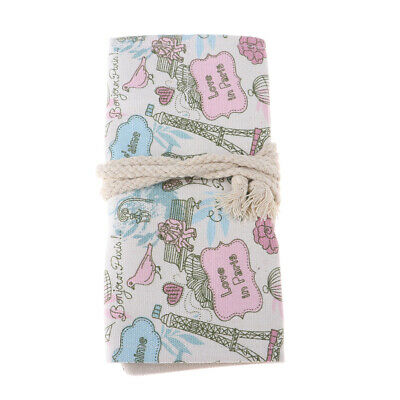 School Pencil Case Bag Lovely Stationery Canvas Pen Roll Up Bags B