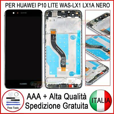 Lcd Touch Screen Frame Per Huawei P10 Lite Nero Was-Lx1A Schermo Vetro Display