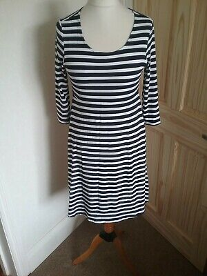 Size 10 Blue And White Striped Stretch Red Herring Maternity Dress  3/4 Sleeve