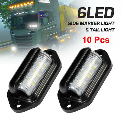 10x 6 LED License Number Plate Light Tail Rear Lamp For Truck Trailer Lorry 12V