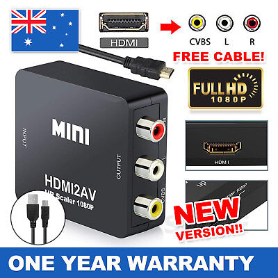 HDMI to RCA Adapter AV 3RCA CVBS Video Cable Converter 1080p Downscaling New