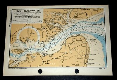 RIVER BLACKWATER, Essex - Detailed WW2 Naval Map 1943
