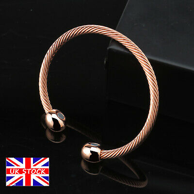 Unisex Healing Pure Copper Bangle Black Magnetic Bracelet Arthritis Pain Relief