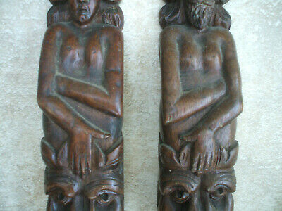 BEAUTIFUL PAIR ANTIQUE HAND-CARVED WOODEN PANELS c1800s/ 63cm TALL MAN & WOMAN
