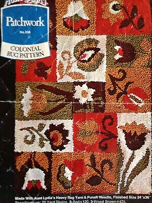 Vintage Aunt Lydia's Patchwork Colonial Punch Needle Rug Pattern