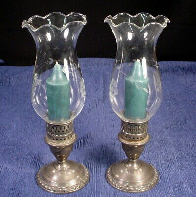 Vintage Pair International Sterling Silver Candle Holders Glass Shades 594Grams