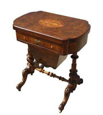 Victorian Burr Walnut Games Table / Work Table