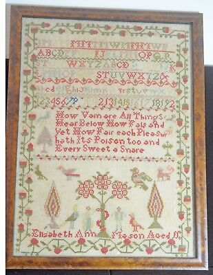Beautiful Antique Sampler In Frame – Elizabeth Ann Mason Aged 11 Tt951