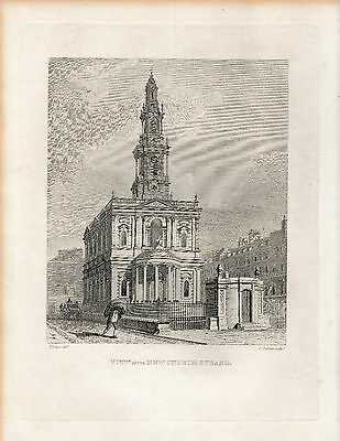 1810 Fine Engraving - View of the New Church Strand - St. Mary le Strand, London
