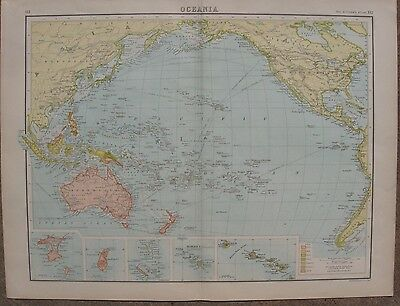 1884 Two Large Antique Maps - OCEANIA & PACIFIC OCEAN - Inset Maps - Bartholomew