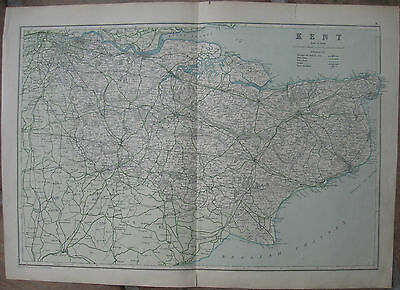 """1911 Two Vintage Maps -""""KENT"""" and """"ESSEX"""", England - Bacon's Universal Atlas"""