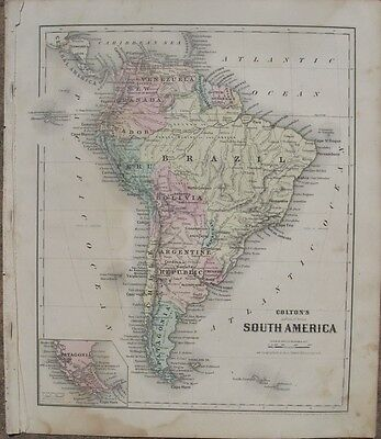 1860 Two Antique Maps - SOUTH AMERICA & EUROPE (Physical) - J.H.Colton Atlas