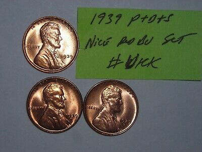 wheat penny lot 1939-P,1939-D,1939-S RED BU SET 1939D,1939S UNC LINCOLN CENT #1