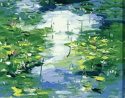 ABSTRACT WATER LILIES PAINT BY NUMBERS CANVAS KIT 20 x 16 ins FRAMELESS