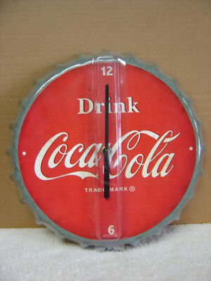 "Coca Cola Bottle Top Metal Clock.....battery Powered.......12"" Round"