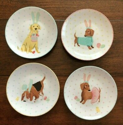 222 FIFTH Set of 4 EASTER PUPS Appetizer Plates DOGS Chicks RABBIT EARS Eggs NWT