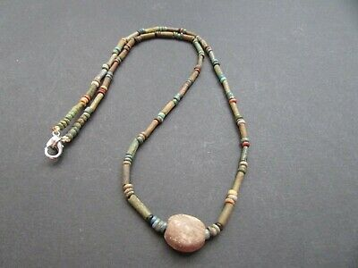 NILE Ancient Egyptian Scarab Amulet Mummy Bead Necklace ca 600 BC