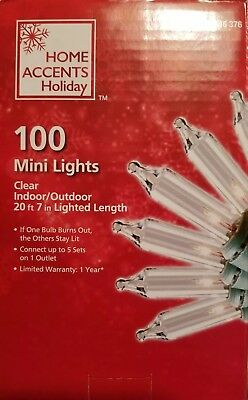 Home Accents Holiday 100 Mini Lights CLEAR on Green Wire Christmas Wedding NEW